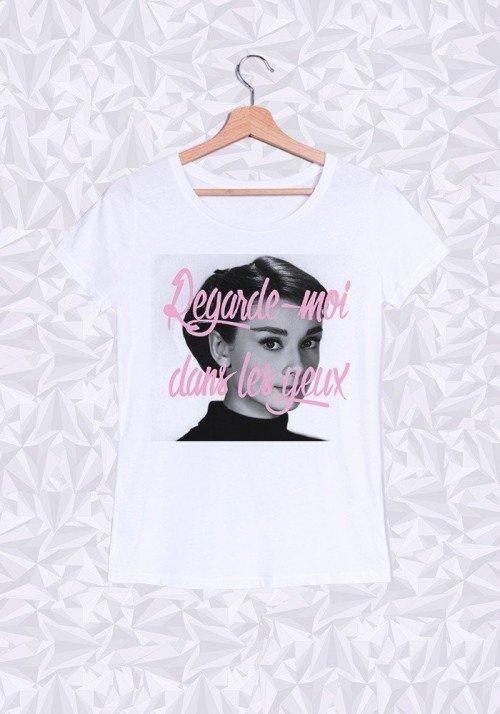 Audrey Hepburn Yeux T-shirt Femme Col Rond