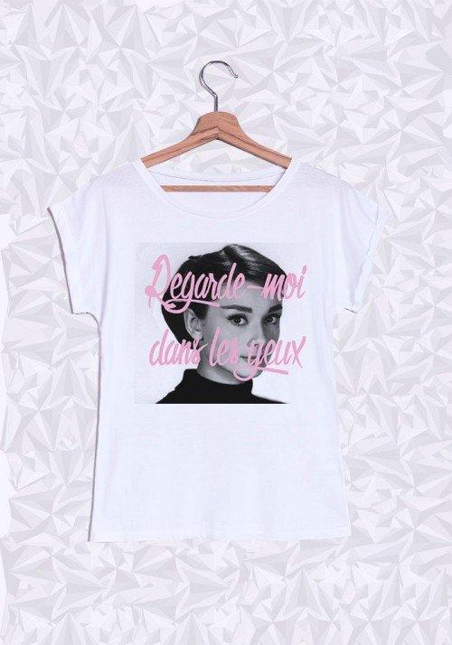 Audrey Hepburn Yeux T-shirt Femme Manches retroussées