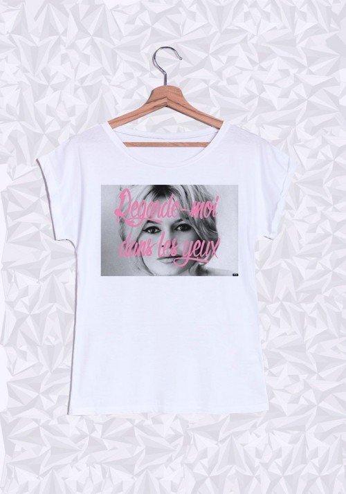 Brigitte Bardot Yeux T-shirt Femme Manches retroussées