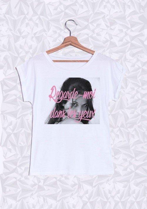 Claudia Cardinal Yeux T-shirt Femme Manches retroussées