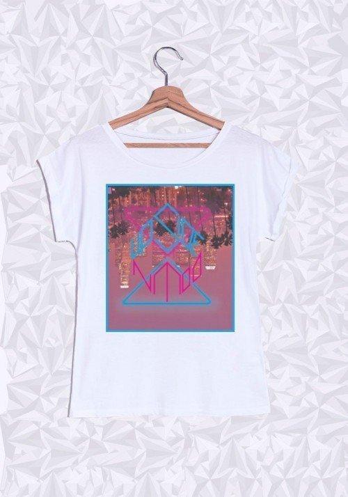 Upside Down T-shirt Femme Manches retroussées