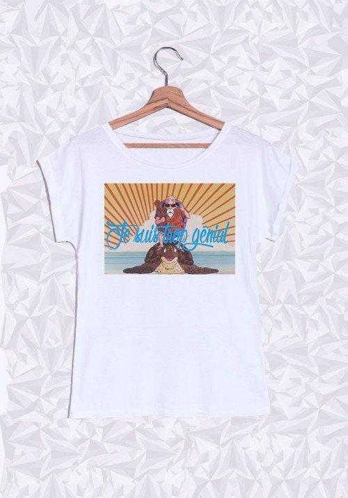 Tortue Géniale T-shirt Femme Manches retroussées