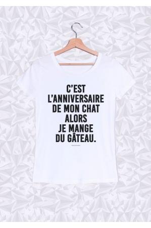 C'est l'anniversaire de mon Chat T-shirt Femme Col Rond