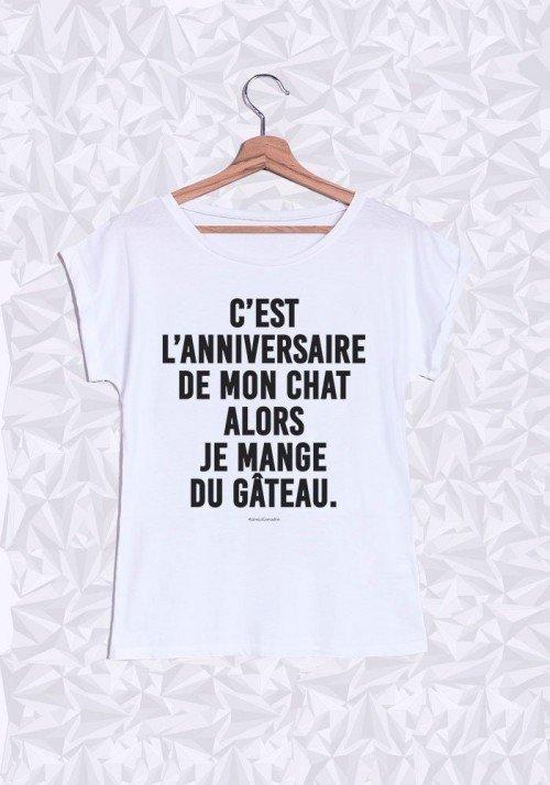 C'est l'anniversaire de mon Chat T-shirt Femme Manches Retroussées