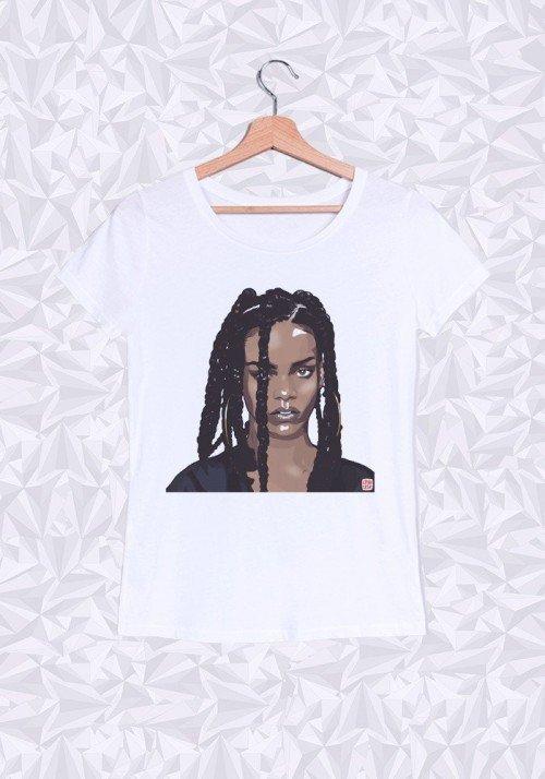 Rihanna Head T-shirt Femme Col Rond