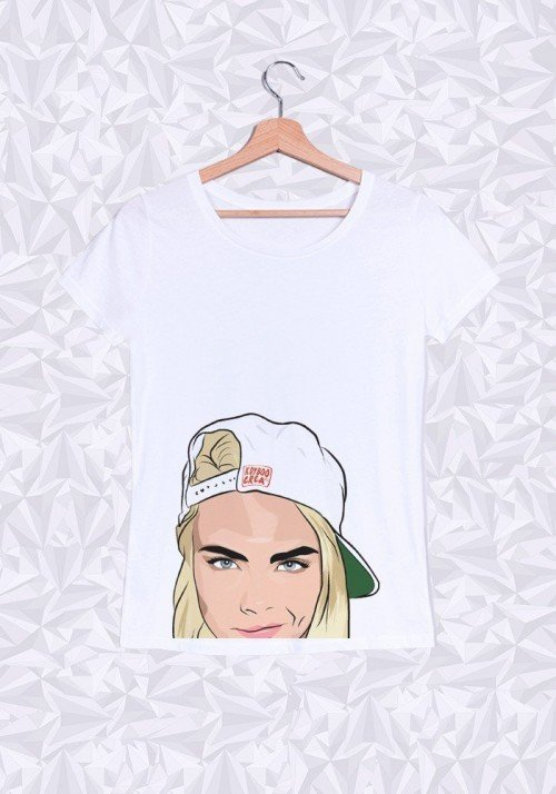 Cara Delevingne T-shirt Femme Col Rond