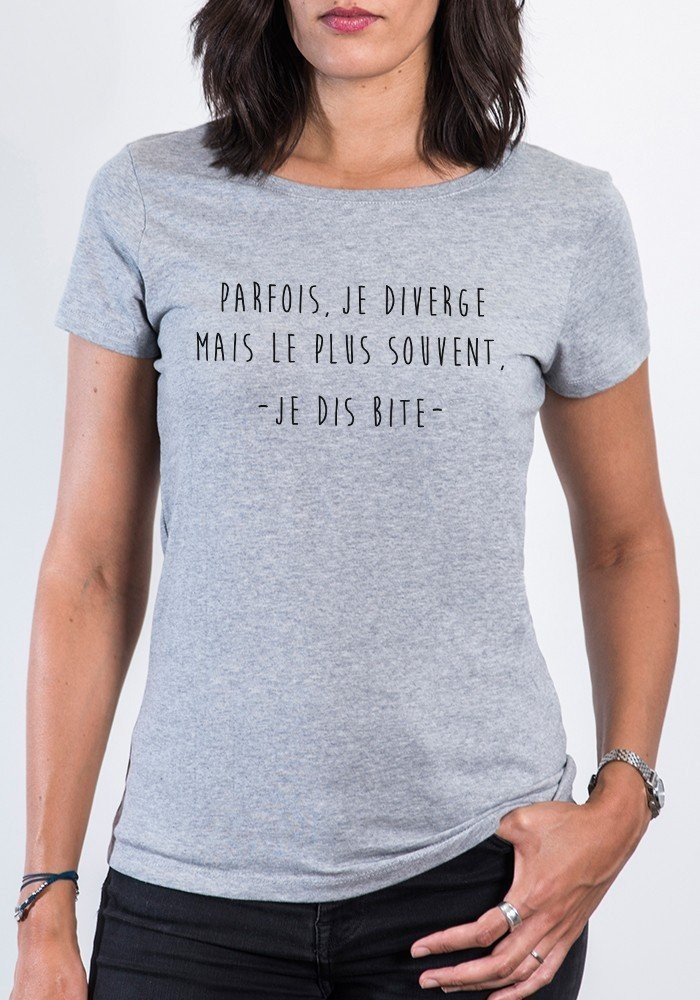 t shirt blanc femme parfois je diverge je dis bite styley tshirt. Black Bedroom Furniture Sets. Home Design Ideas