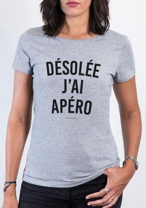 Désolée J'ai Apéro T-shirt Femme Col Rond