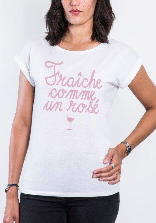Fraiche comme un rosé T-shirt Femme Manches retroussées
