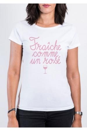 Fraiche comme un rosé T-shirt Femme Col Rond