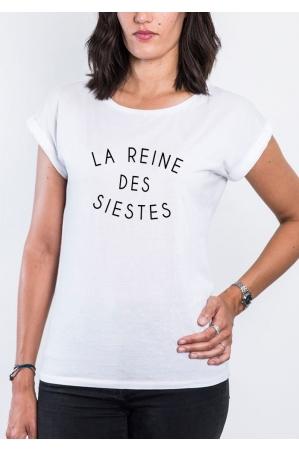 Reine des Siestes T-shirt Femme Manches Roulées
