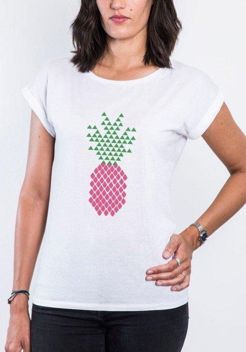 Ananas T-shirt Femme Manches retroussées