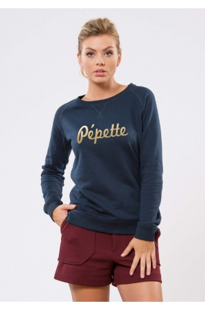 Pépette Navy Or Sweat Femme
