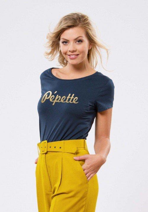 Pépette Navy Or T-shirt Femme