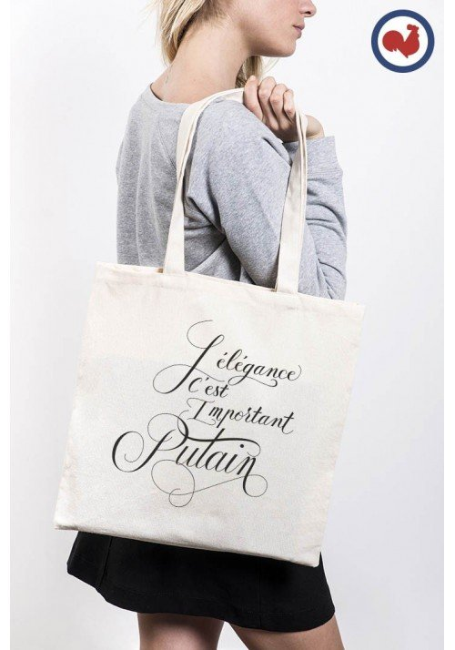 L'élégance c'est important putain Totebag Made in France