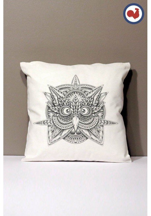 Tribal Owl Coussin Made in France Bio