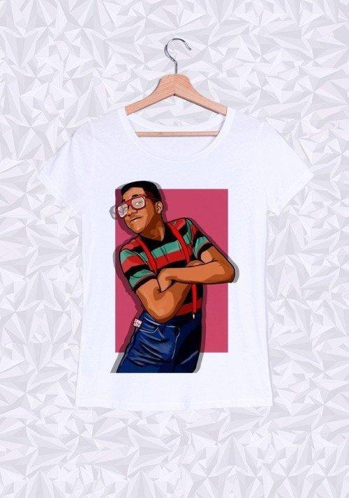 Steve Urkel T-shirt Femme Col Rond