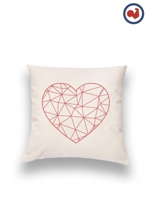 Coeur Polygones Coussin Made in France Bio