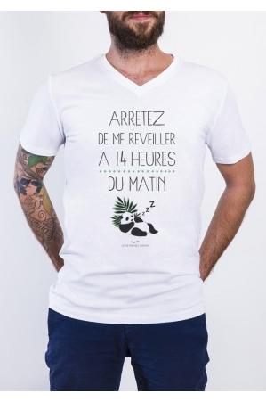 Arrêtez de me réveiller T-shirt Homme Col V