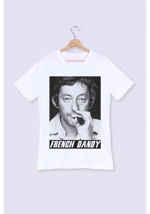 French Dandy T-shirt Homme Col V