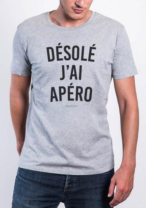 Désolé j'ai Apéro T-shirt Homme Col Rond