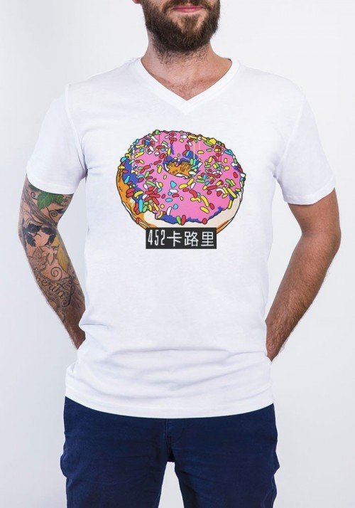 Donuts T-shirt Homme Col V
