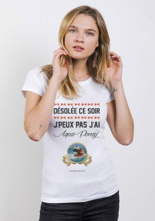 Aqua Panda T-Shirt Femme Col Rond