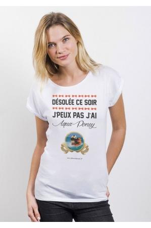 Aqua Panda T-Shirt Femme Manches Roulées