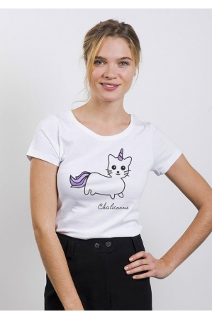 Chat Licorne T-shirt Femme Col rond