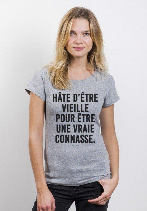 Hâte d'être vieille pour être une vraie connasse T-shirt Femme Manches Retroussées