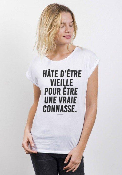 Hâte d'être vieille pour être une vraie connasse T-shirt Femme Col Rond