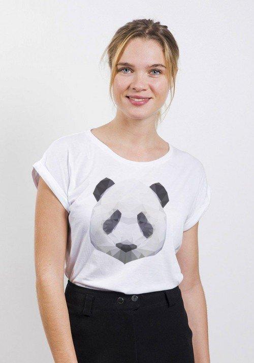 Panda T-shirt Femme Manches Retroussées