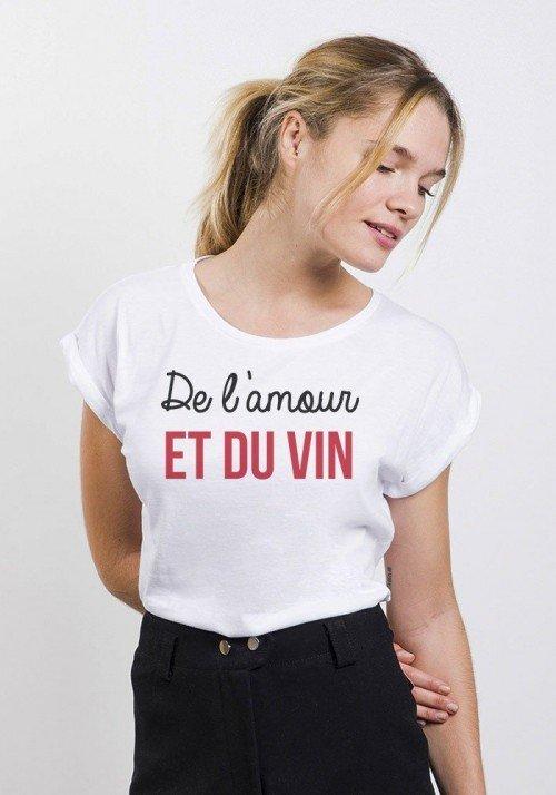 Amour et vin T-shirt Femme Manches retroussées