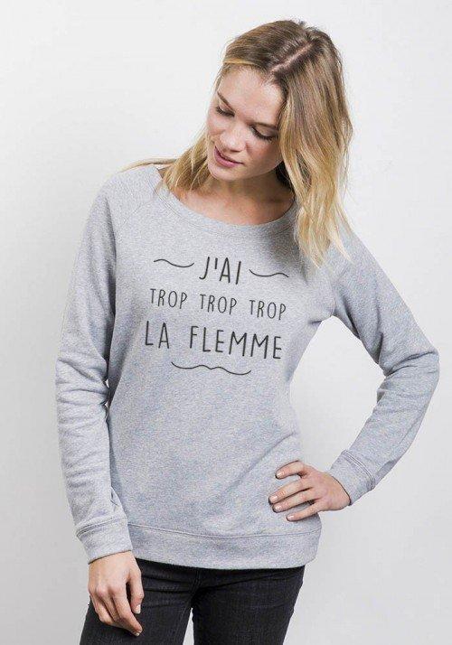 Sweat Femme col large - J'ai trop la Flemme