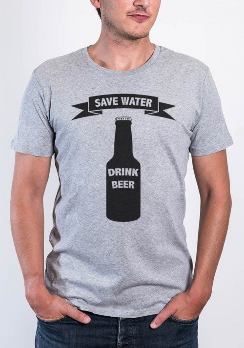 Drink beer T-shirt Homme Col Rond