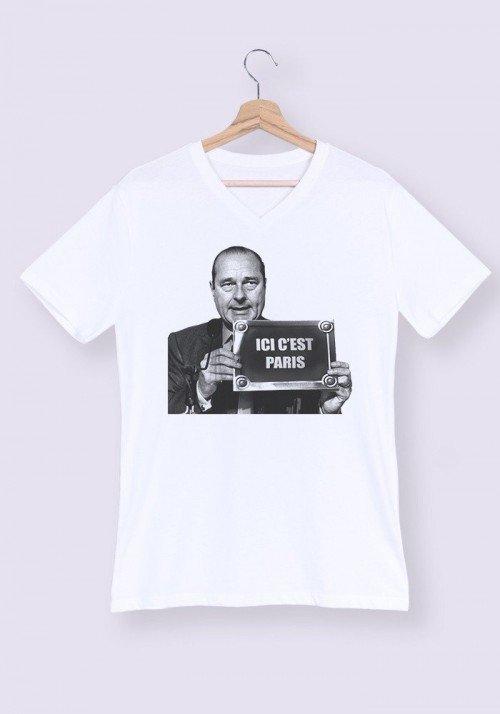 Ici c'est Paris T-shirt Homme Col V