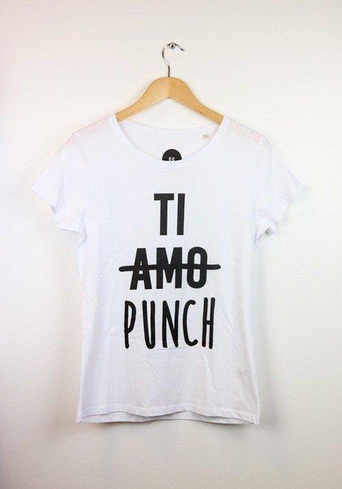 Ti amo ti punch T-shirt Femme Col Rond