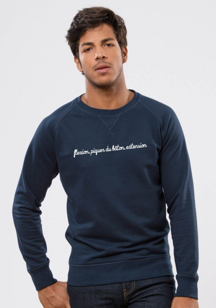 Piquer au Baton - Square Up - Navy Sweat Homme