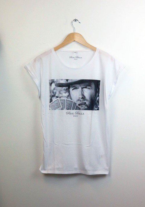 Clint eastwood - REAL BALLA - Tee-shirt Femme Manches Retroussées