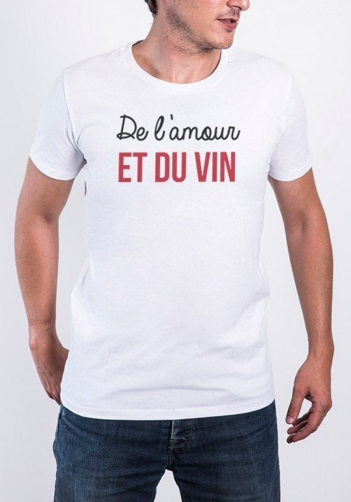 Amour et vinT-shirt Homme Col rond