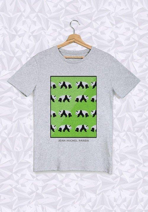 Panda Vert T-shirt Homme Col Rond