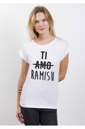 Tiramisu T-shirt Femme Manches Retroussées