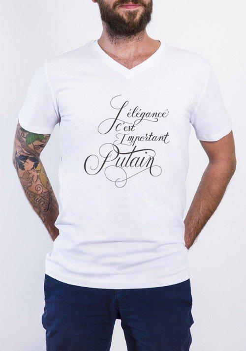 L'élégance c'est important putain T-shirt Homme Col V