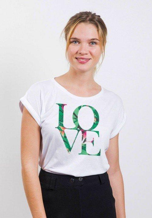 Love T-shirt Femme Manches Retroussées