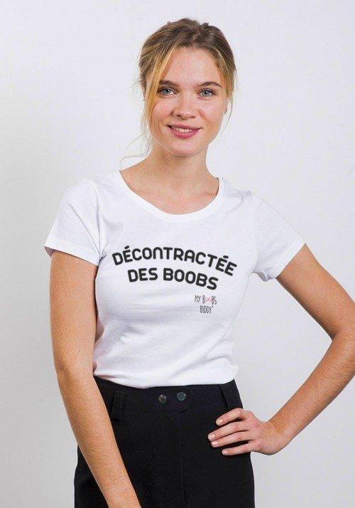 Décontractée des Boobs T-shirt Femme Col Rond