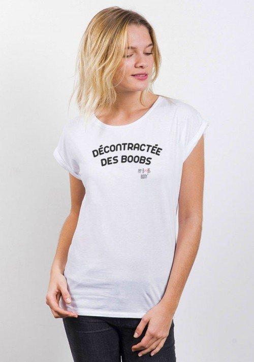 Décontractée des Boobs T-shirt Femme Manches retroussées