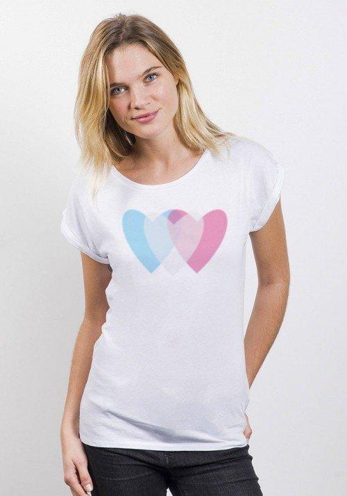 Love 3D T-shirt Femme Manches retroussées