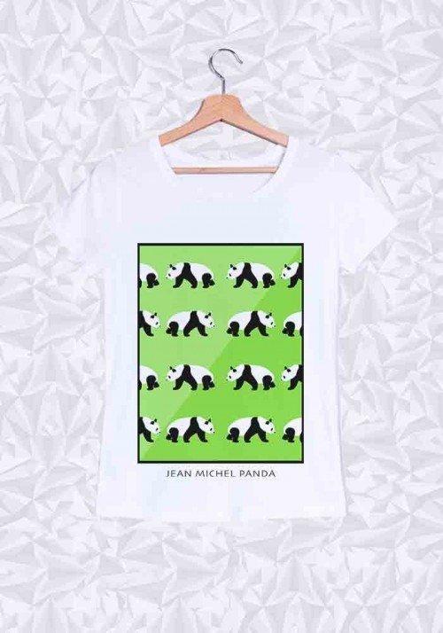 Panda Vert T-Shirt Femme Col Rond