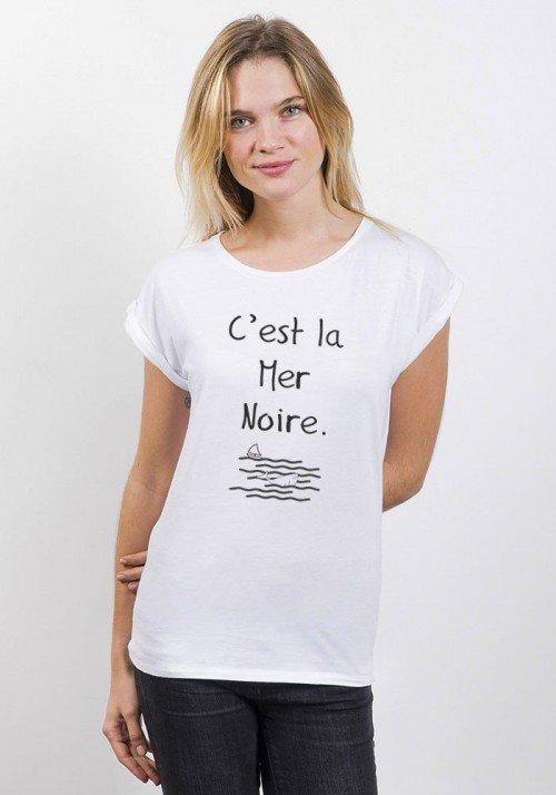 La mer Noire T-shirt Femme Manches Retroussées
