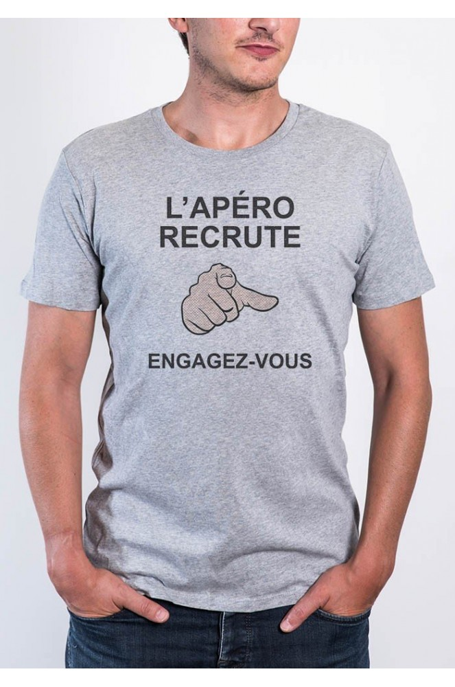 le tshirt homme apero recrute by dit vin tshirt. Black Bedroom Furniture Sets. Home Design Ideas